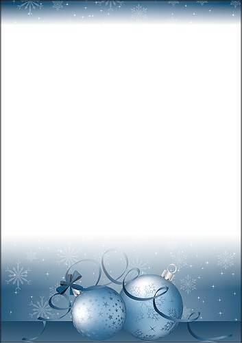 Weihnachtsbriefpapier Mit Blauen Weihnachtskugeln A4