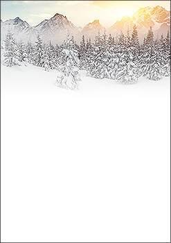 weihnachtsbriefpapier verschneite bergwelt a4. Black Bedroom Furniture Sets. Home Design Ideas