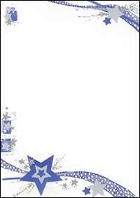 Weihnachtsbriefpapier Weihnachtssterne Blau A4