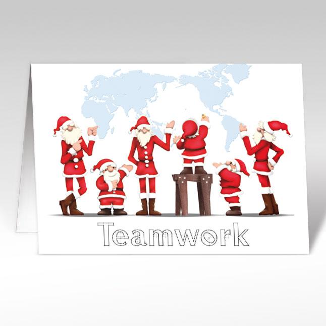 teamwork weihnachtskarten mit weihnachtsm nner weltkarte. Black Bedroom Furniture Sets. Home Design Ideas