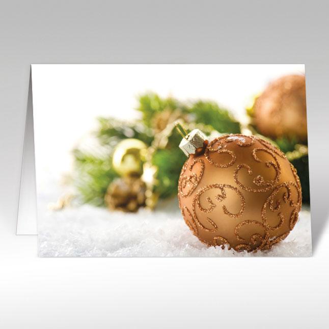 Weihnachtskugeln Kupfer.Weihnachtskarten Mit Kupfer Weihnachtskugeln A5 Quer Mit Couvert