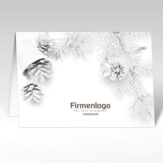 weihnachtskarte weisse weihnachten mit logo a5 quer mit. Black Bedroom Furniture Sets. Home Design Ideas