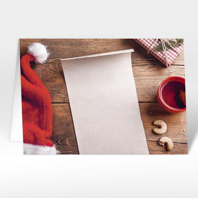 weihnachtskarten santa 39 s wunschzettel mit logo a5 quer. Black Bedroom Furniture Sets. Home Design Ideas