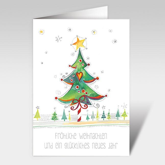 weihnachtskarten mit tannenbaum in gr n und text a5 hoch. Black Bedroom Furniture Sets. Home Design Ideas